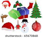 Christmas icon set isolated on white, vector illustration - stock vector
