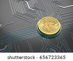 bitcoin concept  golden coin...   Shutterstock . vector #656723365