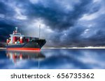 Small photo of ship on storm sky import export goods to custom.