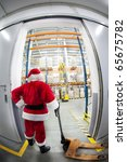 santa claus with empty hand... | Shutterstock . vector #65675782