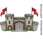 Old Cartoon Castle With Gate...