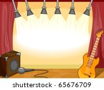 Party Invitation Featuring Musical Instruments Sitting on an Empty Stage - stock vector