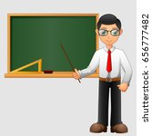 young friendly teacher standing ... | Shutterstock . vector #656777482