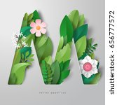 3d vector letter m with leaves... | Shutterstock .eps vector #656777572