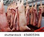 pig carcasses cut in half... | Shutterstock . vector #656805346