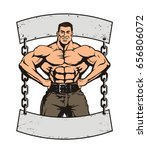 young huge muscle man on the... | Shutterstock .eps vector #656806072