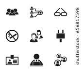set of 9 editable bureau icons. ...