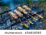 the barbecue is prepared on... | Shutterstock . vector #656818585
