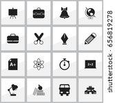 set of 16 editable school icons.... | Shutterstock .eps vector #656819278