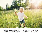 happy little boy running on... | Shutterstock . vector #656822572