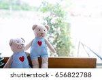 two teddy bear sitting on a... | Shutterstock . vector #656822788