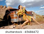 beautiful sexy woman on old car | Shutterstock . vector #65686672