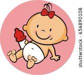 toddler  girl  vector icon   Shutterstock .eps vector #656890108