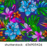tropical pattern with flamingo... | Shutterstock . vector #656905426