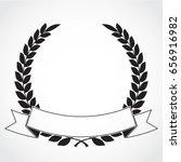 black white laurel wreath with... | Shutterstock .eps vector #656916982
