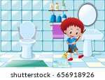 boy cleaning wet floor in... | Shutterstock .eps vector #656918926