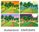palm trees on the hills at four ... | Shutterstock .eps vector #656926696