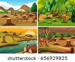 four scenes of deforestation...   Shutterstock .eps vector #656929825