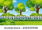 scene with blue flowers in... | Shutterstock .eps vector #656929948