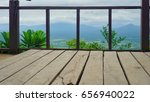 wooden seats scenic view | Shutterstock . vector #656940022
