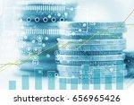 double exposure of stack of... | Shutterstock . vector #656965426