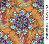 seamless floral pattern. vector ... | Shutterstock .eps vector #656974765