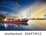 ship and airplane with... | Shutterstock . vector #656974912