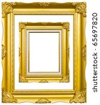 golden wood photo image frame... | Shutterstock . vector #65697820