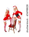 two sexy woman in red costume... | Shutterstock . vector #65698828