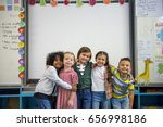 group of diverse kindergarten... | Shutterstock . vector #656998186