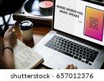 hands working on laptop network ... | Shutterstock . vector #657012376