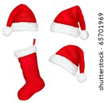 three red santa hats and... | Shutterstock .eps vector #65701969