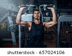 tanned man training on exercise ... | Shutterstock . vector #657024106
