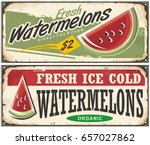 fresh ice cold watermelons... | Shutterstock .eps vector #657027862