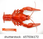 Red Crayfish. 3d Vector Icon....