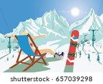 female snowboarder in bikini...   Shutterstock .eps vector #657039298