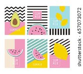 cool summer print with exotic... | Shutterstock .eps vector #657073072