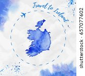 ireland watercolor map in blue... | Shutterstock .eps vector #657077602