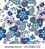 oriental seamless paisley... | Shutterstock .eps vector #657086722