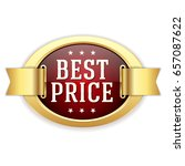 red best price button with gold ... | Shutterstock .eps vector #657087622