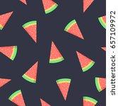 watermelon seamless pattern on... | Shutterstock . vector #657109972