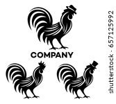 rooster in a hat logo   Shutterstock .eps vector #657125992