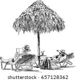 a couple of holidaymakers... | Shutterstock .eps vector #657128362