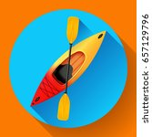 kayak and paddle icon vector.... | Shutterstock .eps vector #657129796