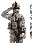 Small photo of Male in US Army soldier (ISAF) uniform saluting. Shot in studio. Isolated with clipping path on white background