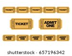 set of yellow admit one ticket... | Shutterstock .eps vector #657196342
