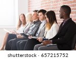 group of diverse people waiting ... | Shutterstock . vector #657215752
