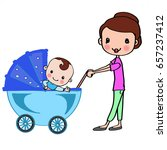Mother In Blue Stroller With...