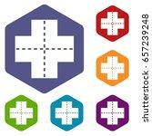 crossroad icons set hexagon... | Shutterstock . vector #657239248