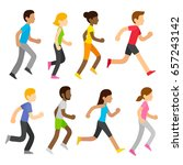 group of diverse marathon... | Shutterstock . vector #657243142